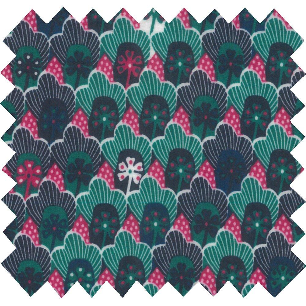 Coated fabric fuchsia green geometrical flowers ex1072