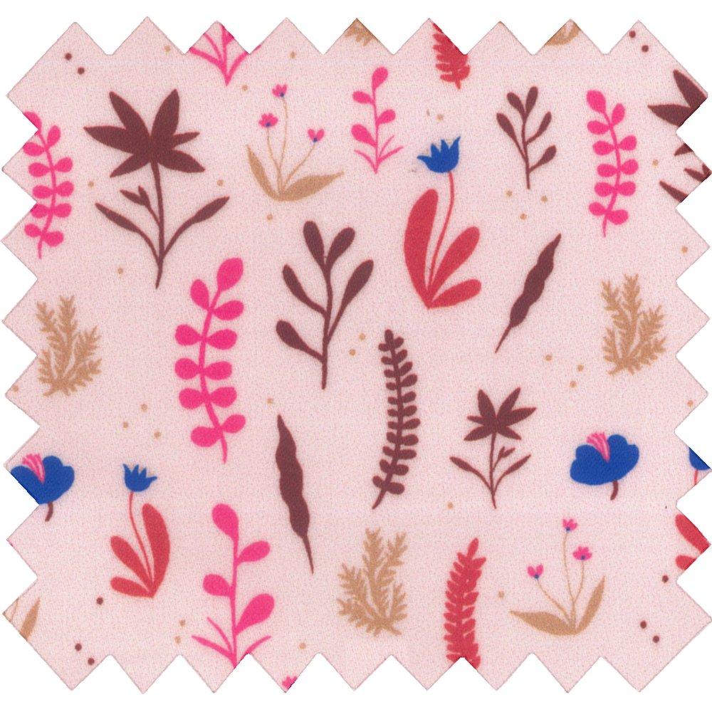 Tissu enduit  au mètre herbier rose