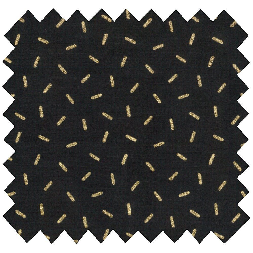 Tissu enduit  paille dorée noir