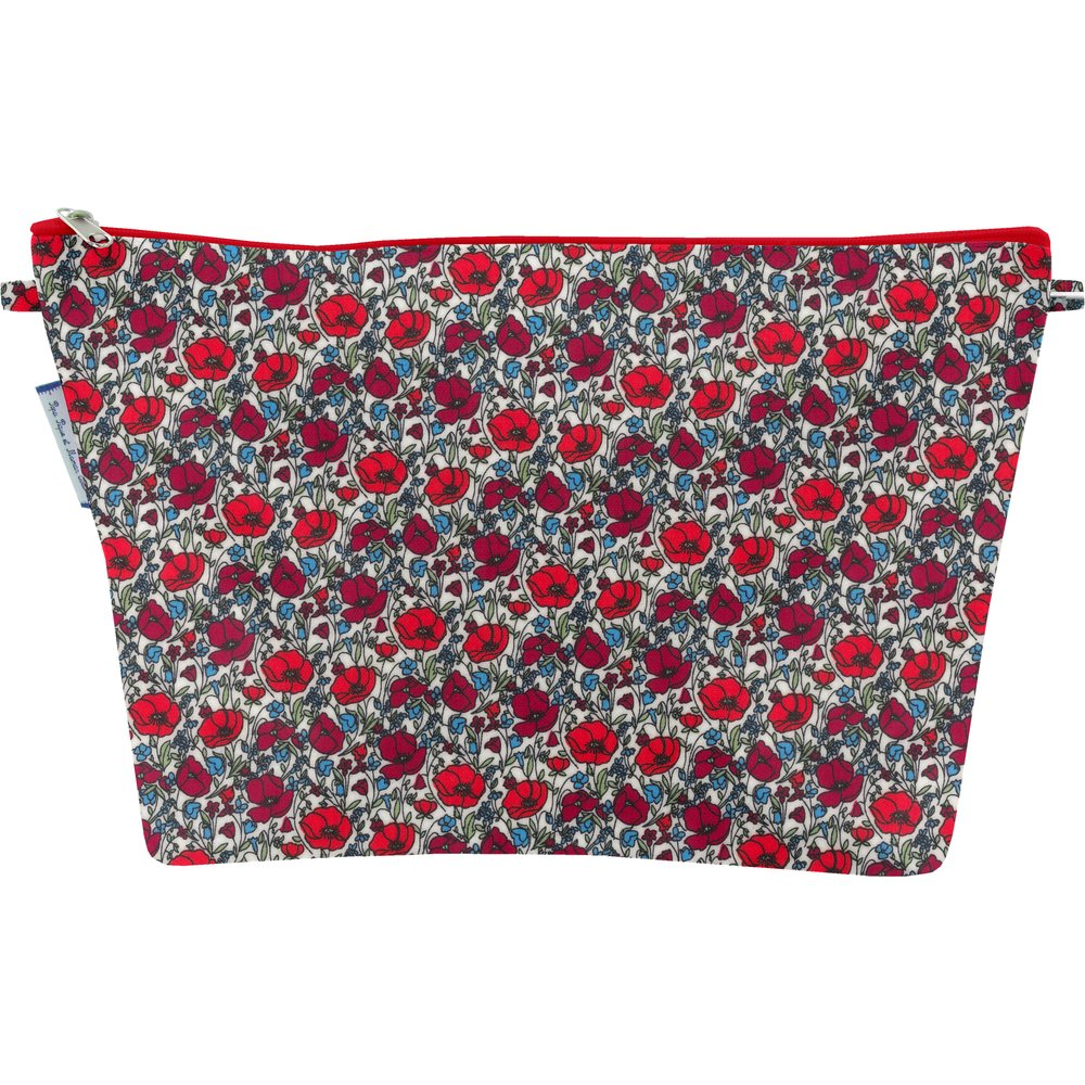 Cosmetic bag with flap poppy