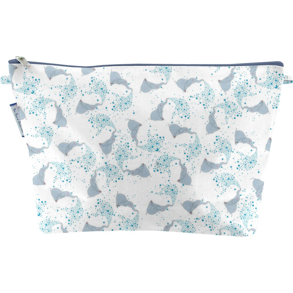 Cosmetic bag with flap stars elephant