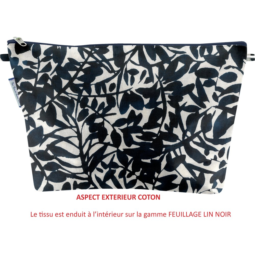 Cosmetic bag with flap chinese ink foliage