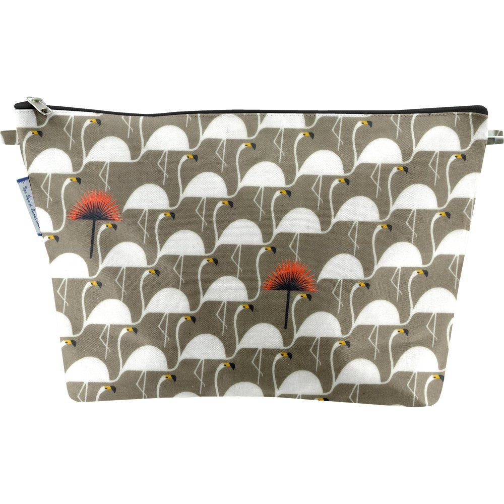 Cosmetic bag with flap flamingo