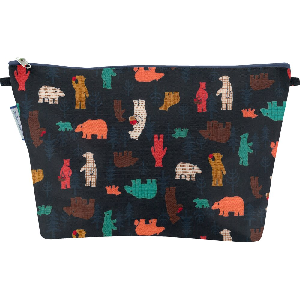 Cosmetic bag with flap grizzly