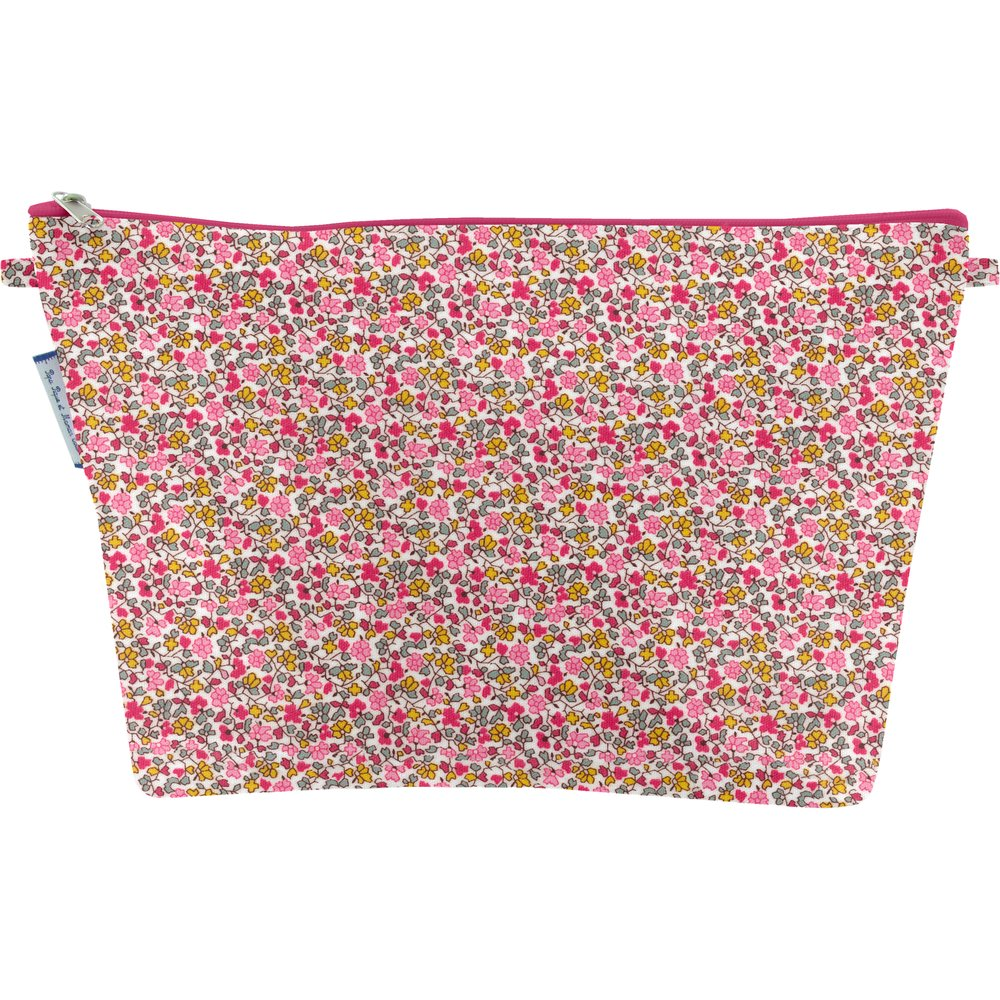 Cosmetic bag with flap pink jasmine