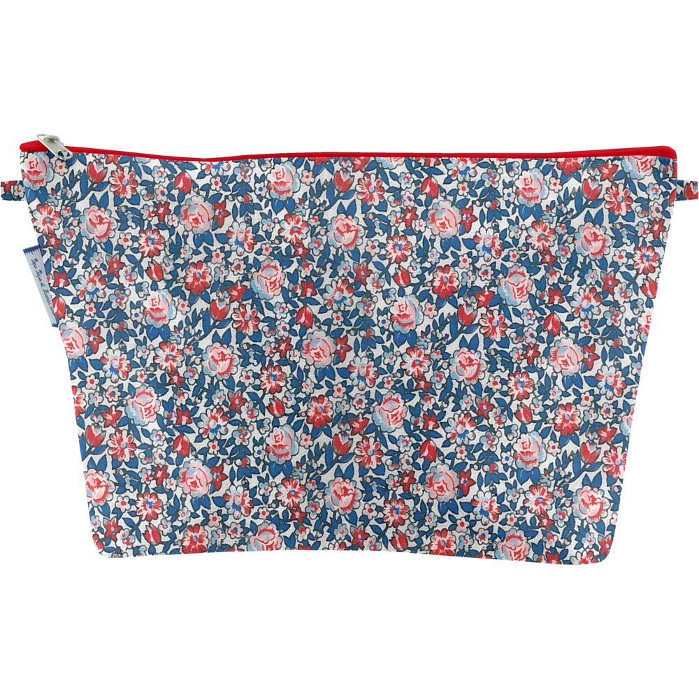 Cosmetic bag with flap flowered london
