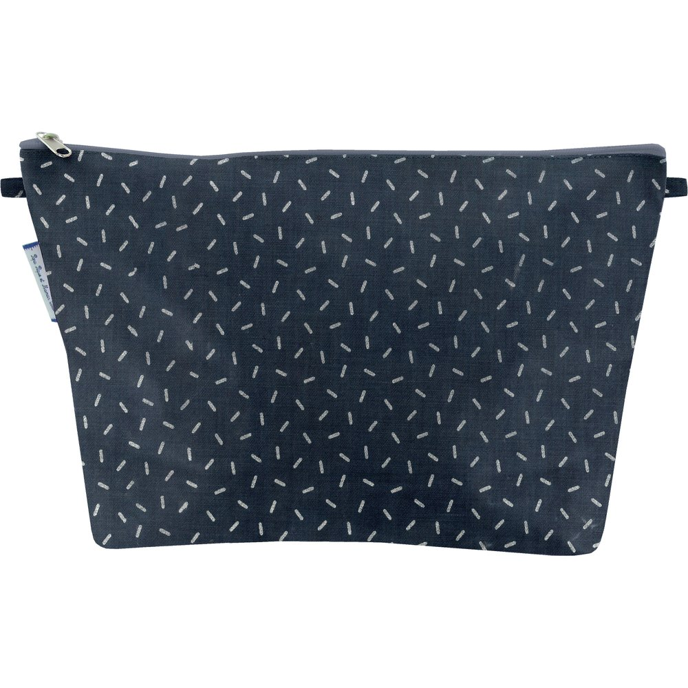 Cosmetic bag with flap silver straw jeans