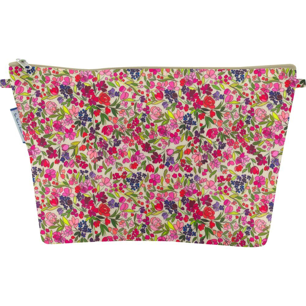 Cosmetic bag with flap purple meadow