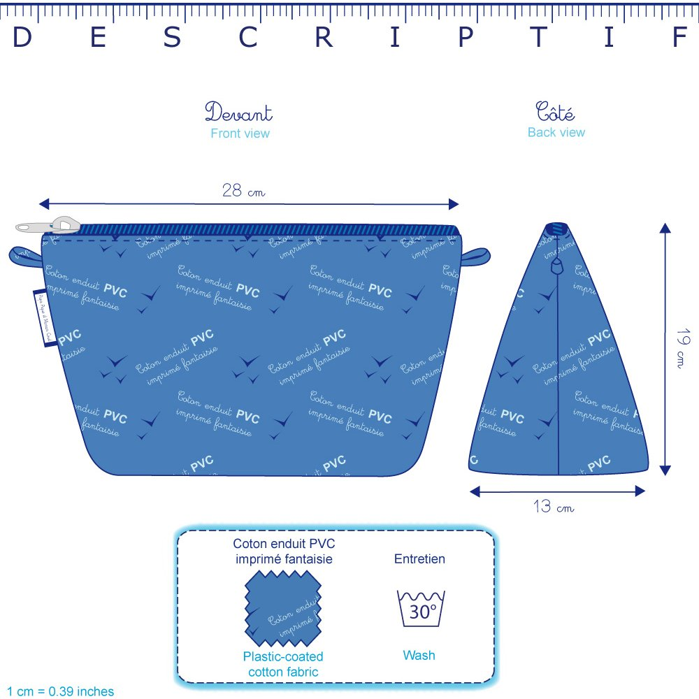 Trousse de toilette rayé bleu blanc