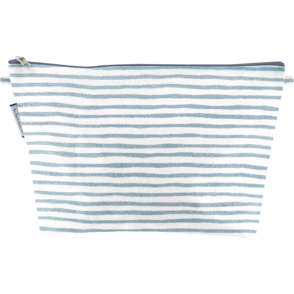 Cosmetic bag with flap striped blue gray glitter