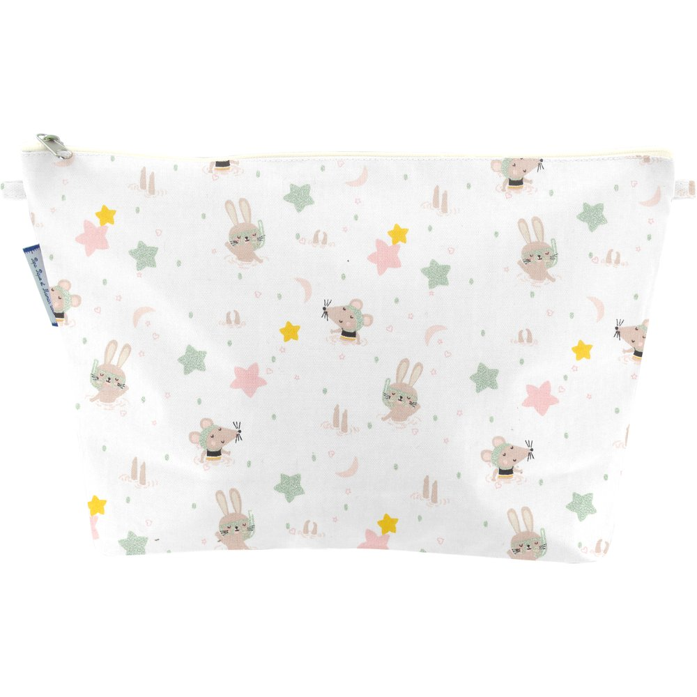Cosmetic bag with flap souris rêveuses