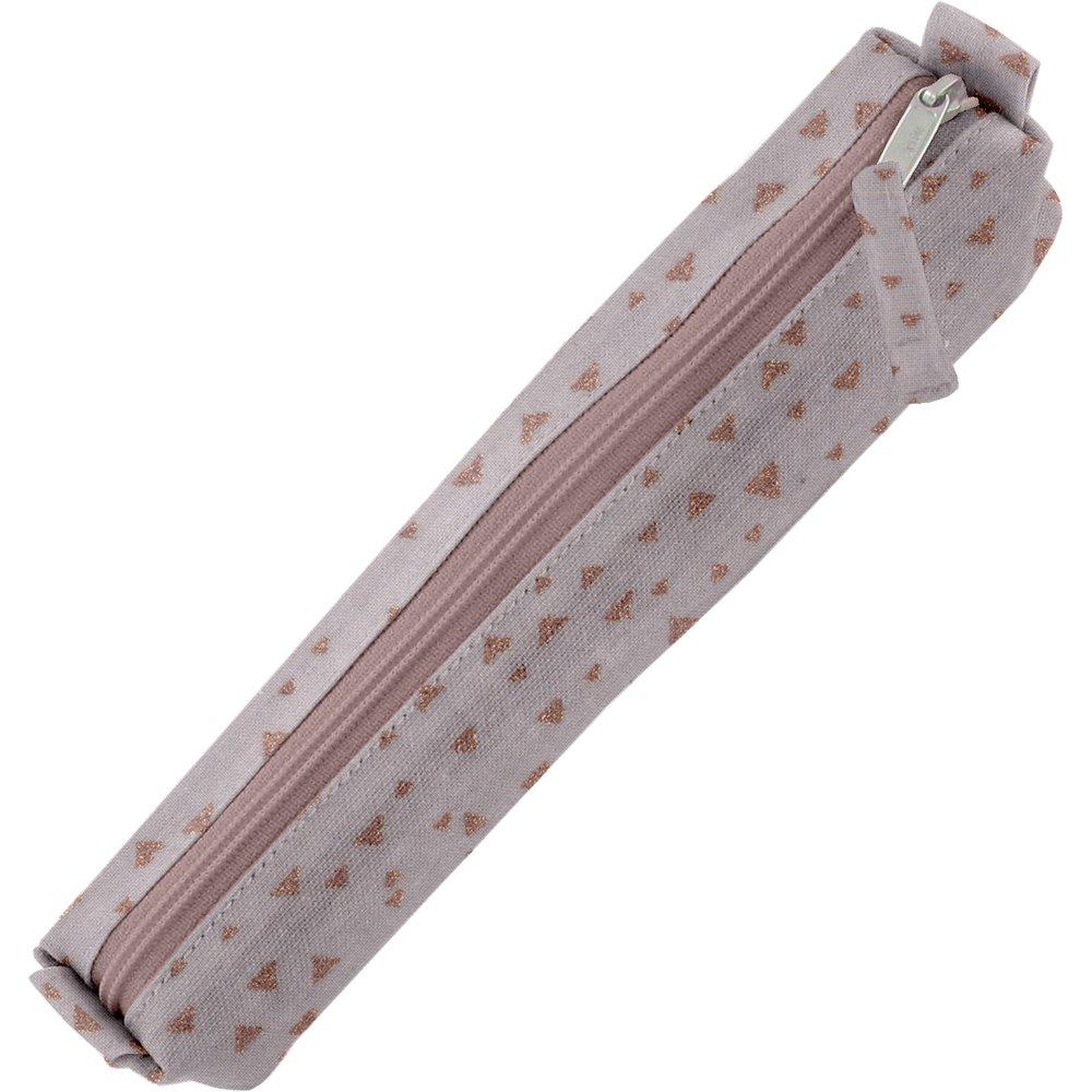 Mini pencil case gray copper triangle