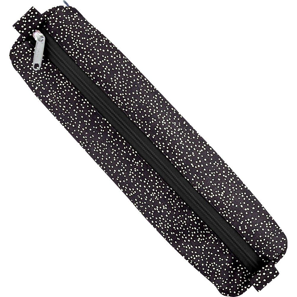 Round pencil case noir pailleté