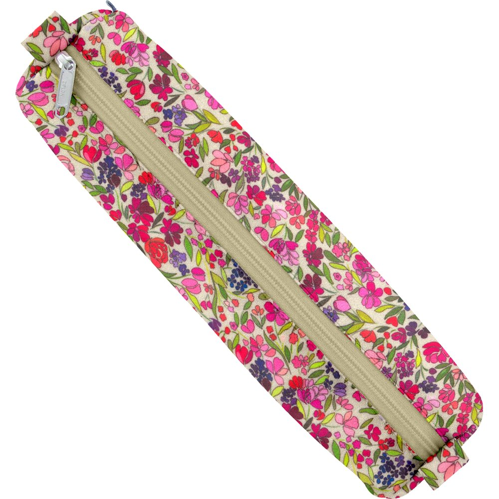 Round pencil case purple meadow
