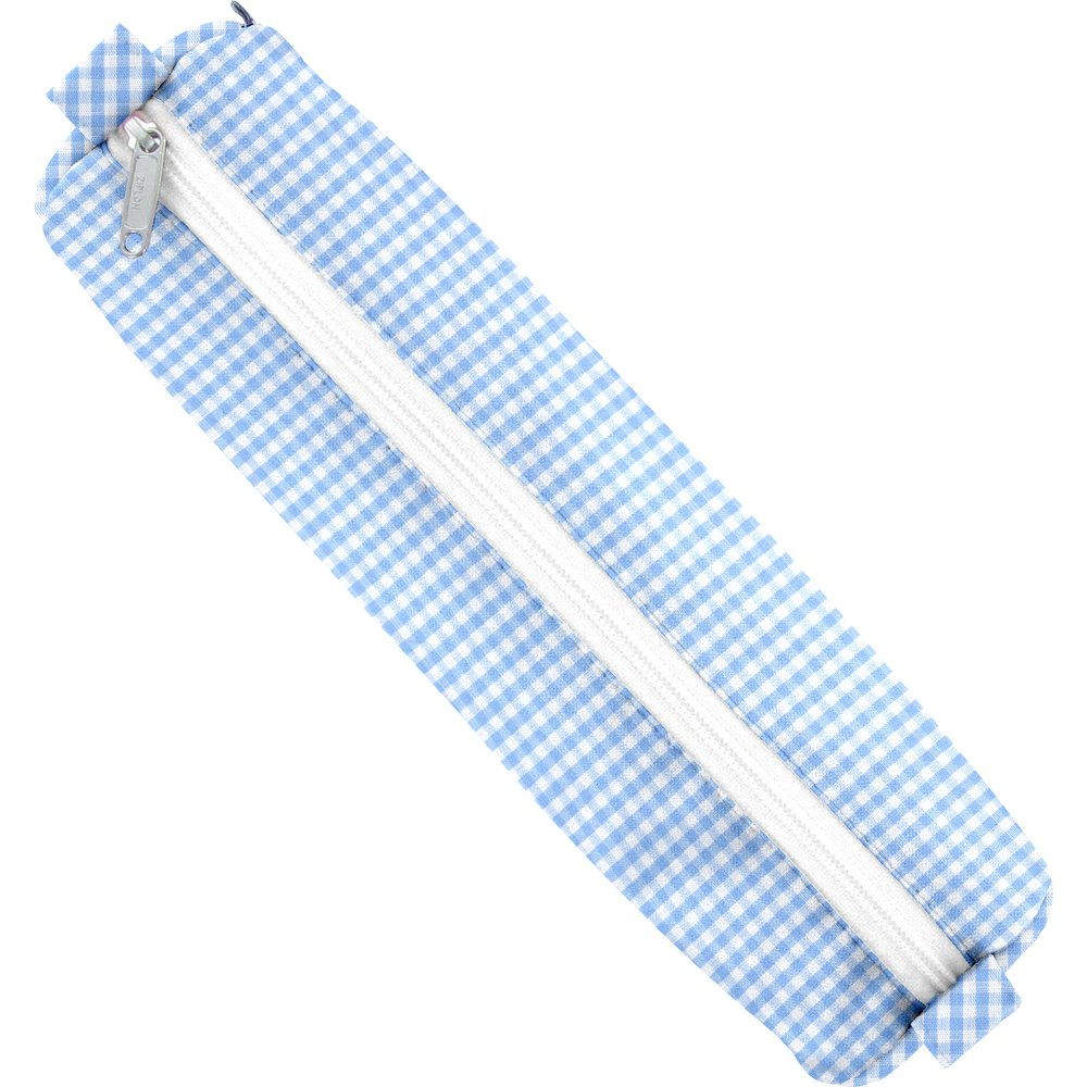 Round pencil case sky blue gingham