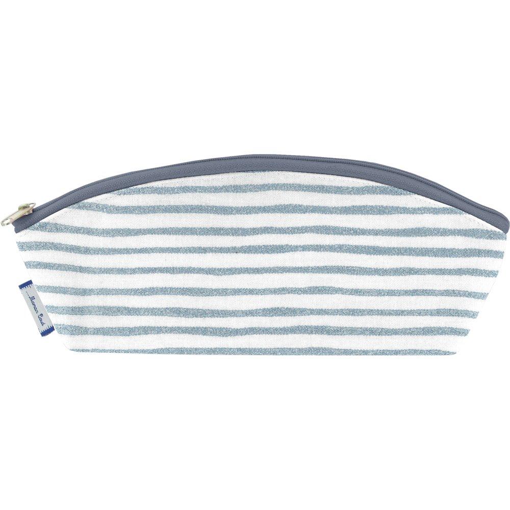 Pencil case striped blue gray glitter
