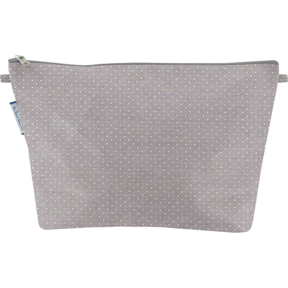 Cosmetic bag with flap etoile or gris