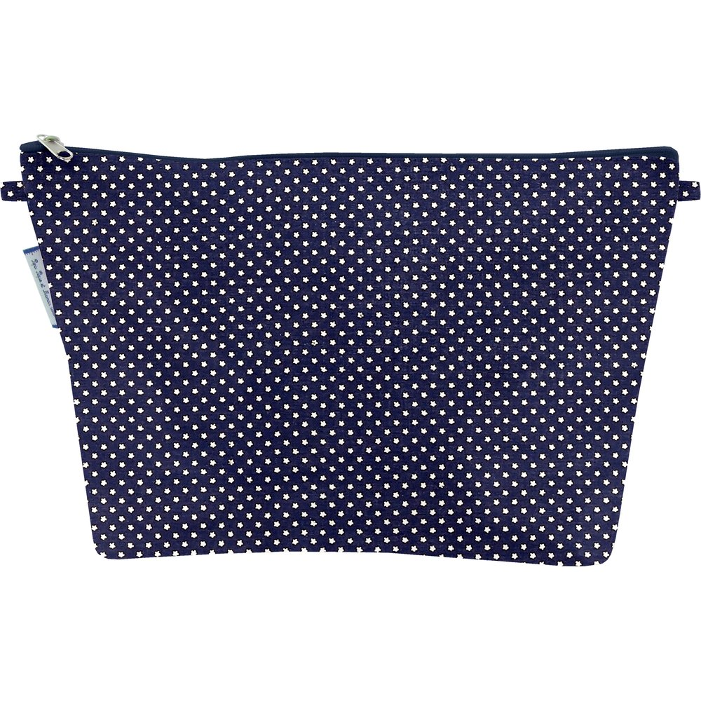 Cosmetic bag with flap navy gold star