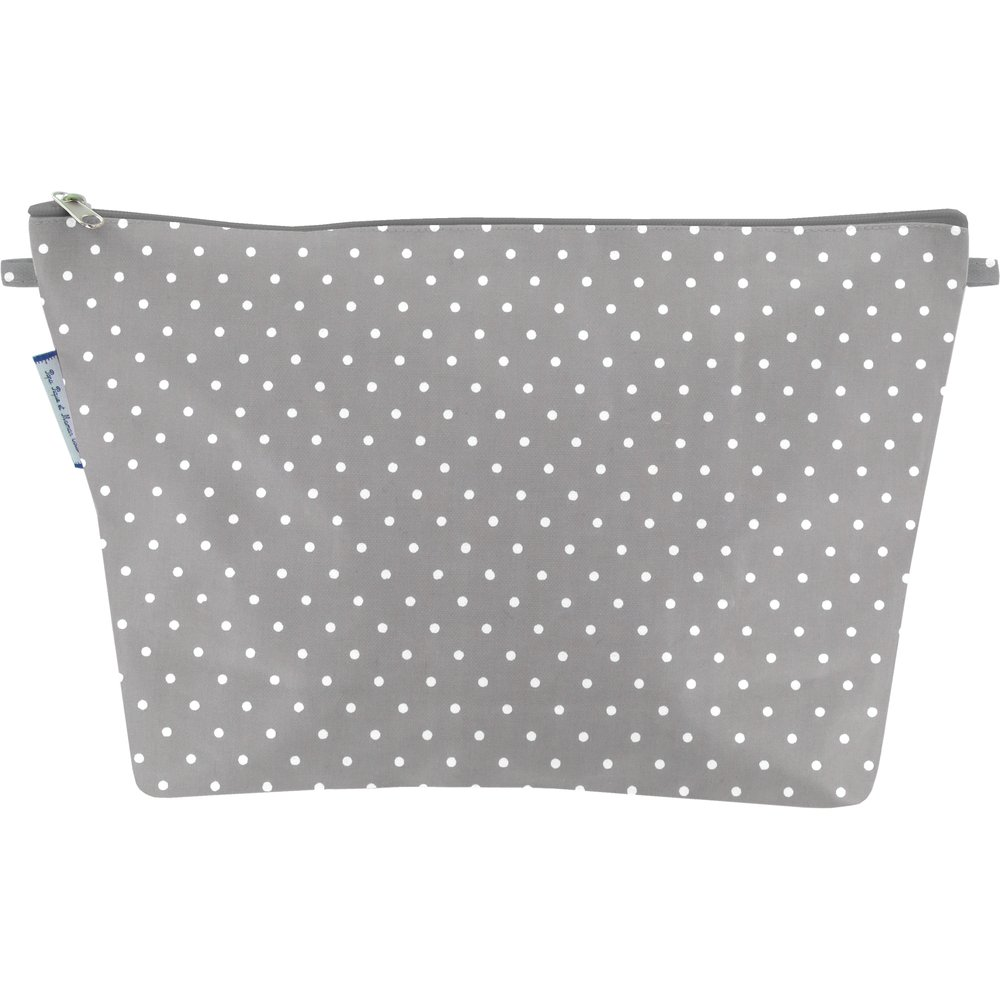 Cosmetic bag with flap light grey spots