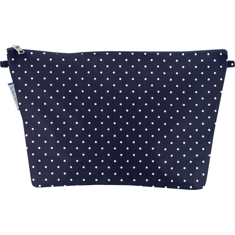 Cosmetic bag with flap navy blue spots