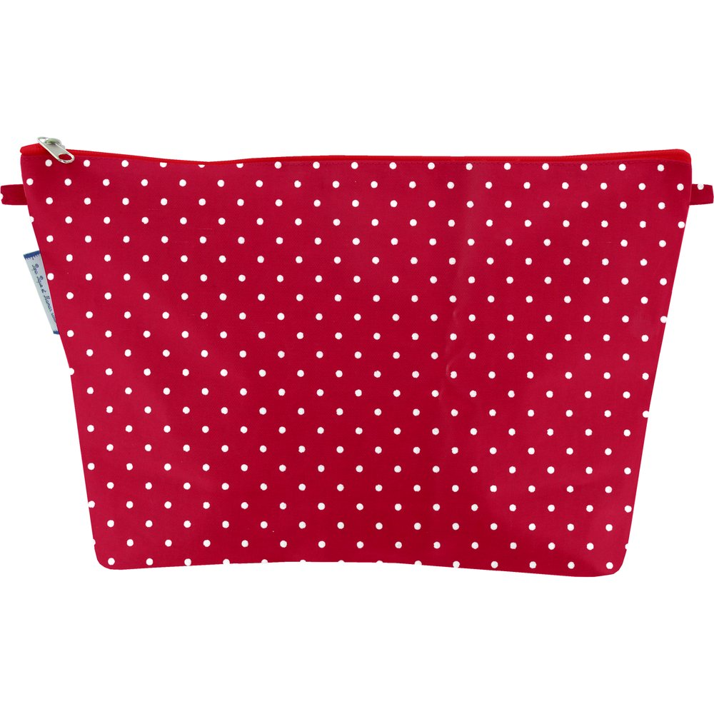Cosmetic bag with flap red spots