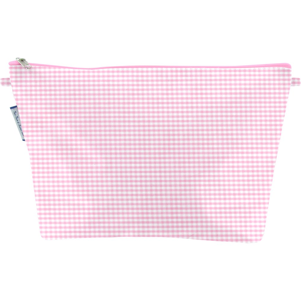 Cosmetic bag with flap pink gingham