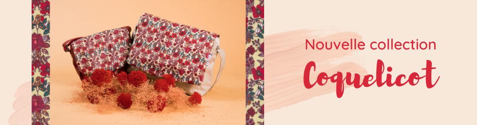 Coquelicot : imprimé fleuri rouge et beige | Collection Printemps Papa Pique et Maman Coud
