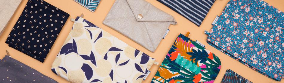 Pochettes en tissu, accessoires pour sac et salle de bain - Papa Pique et Maman Coud