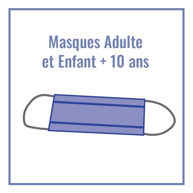 Masque tissu pour adulte et enfant de plus de 10 ans catégorie 1 - PPMC