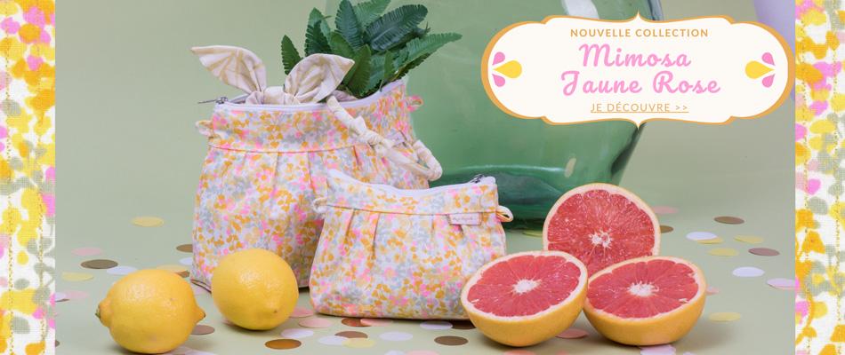 Nouvelle collection Mimosa jaune rose- Papa Pique et Maman Coud